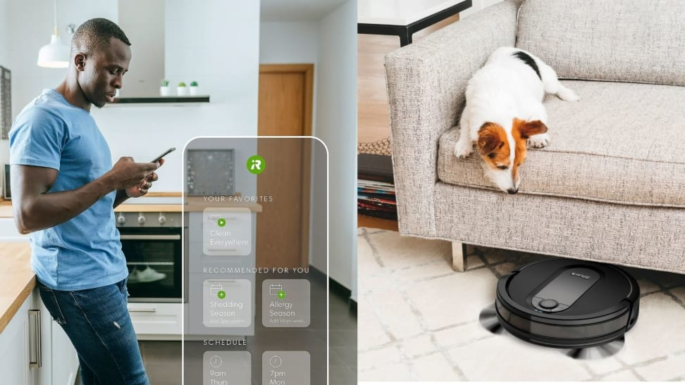 Left: Man holding phone looking at robot vacuum app; Right: Dog looking at robot vacuum