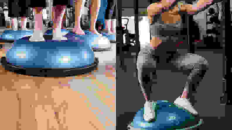 Left: An aerobics class is shown, from the knees down, balancing on inflatable BOSU balls. Right: An athlete does squats on a BOSU ball.