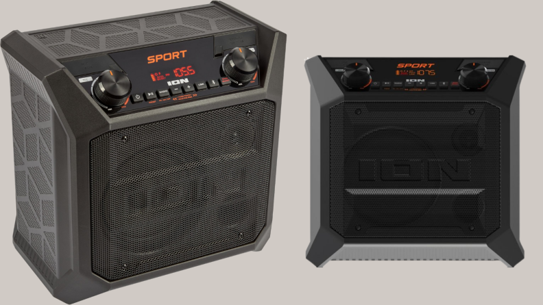 ion sport bluetooth speaker from two angles