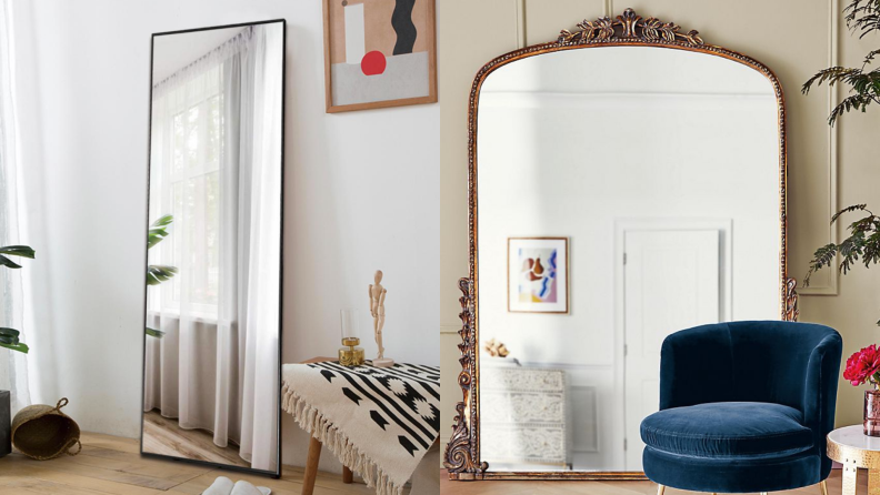 Plain black floor-length mirror on the left, large ornate gold vintage-looking mirror on the right