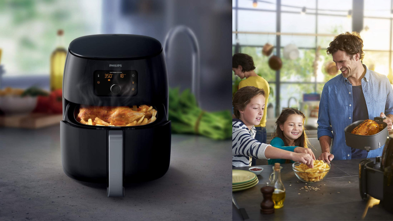 A family cooks food with an air fryer.