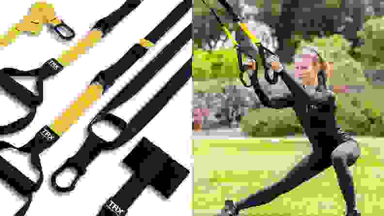 right: trx cables on white background left: woman using trx cables outside