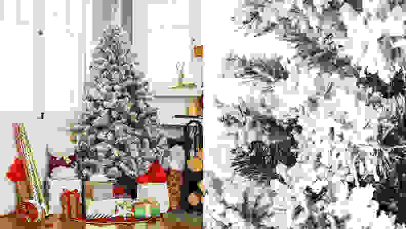 5. Best Choice Products Pre-Lit Snow Flocked Artificial Pine Tree
