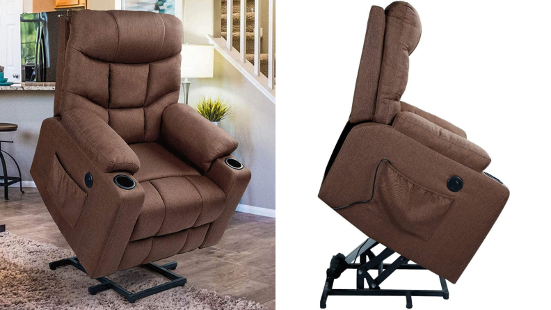 On left, brown recliner chair extended into upright position. On right, side view of brown recliner chair in lifted position.