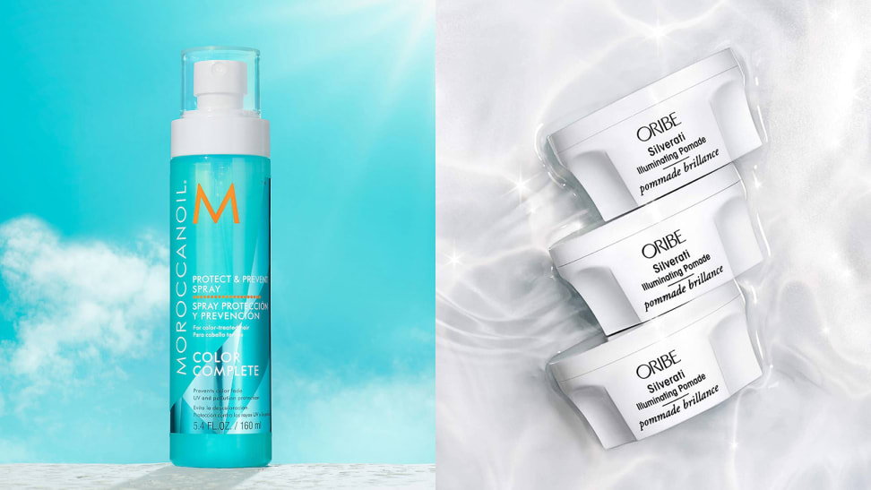 On the left: The light blue spray bottle from Moroccanoil with a blue sky behind it. On the right: Three white Oribe jars stacked on top of each other in silver-colored water.