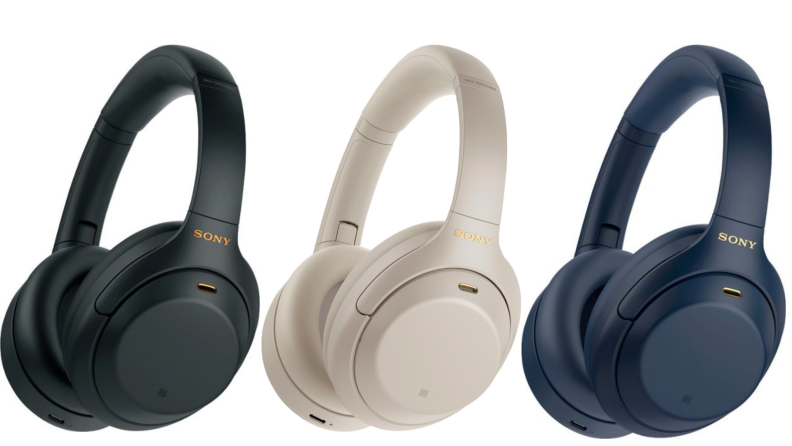 On left, product shot of black Sony - WH-1000XM4 Wireless Noise-Cancelling Over-the-Ear Headphones in black. In middle, product shot of black Sony - WH-1000XM4 Wireless Noise-Cancelling Over-the-Ear Headphones in cream. product shot of black Sony - WH-1000XM4 Wireless Noise-Cancelling Over-the-Ear Headphones in midnight blue.