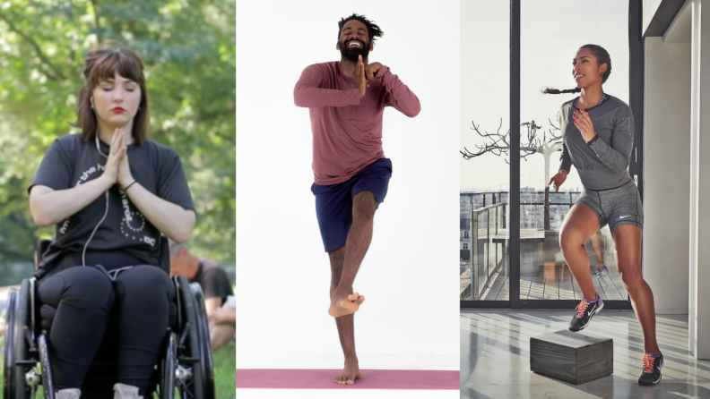 On left, person in wheelchair meditating with eyes closed. In middle, person smiling while doing standing yoga. On right, person doing exercise with box while smiling.