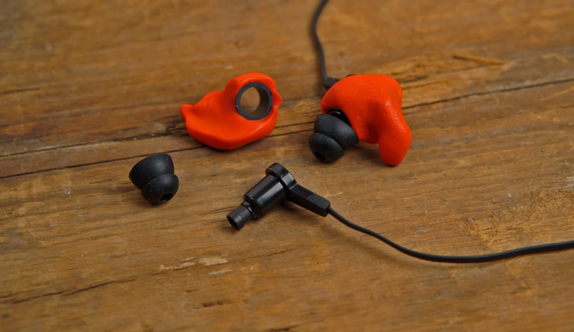 The Decibullz Contour custom mold earbuds.