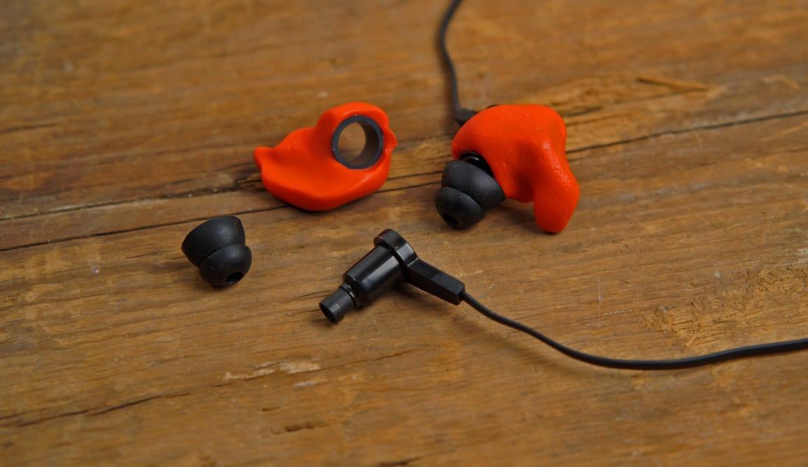 The Decibullz Contour custom mold earbuds.