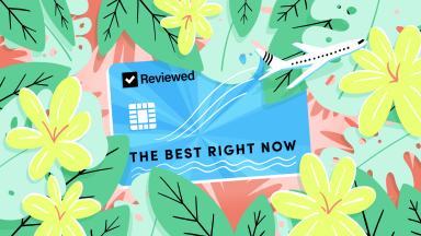 An illustrated credit card that reads Reviewed The Best Right Now that is surrounded by tropical flowers and an airplane