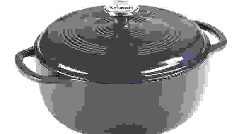 A purple dutch oven lets you cook in the oven or on the stovetop