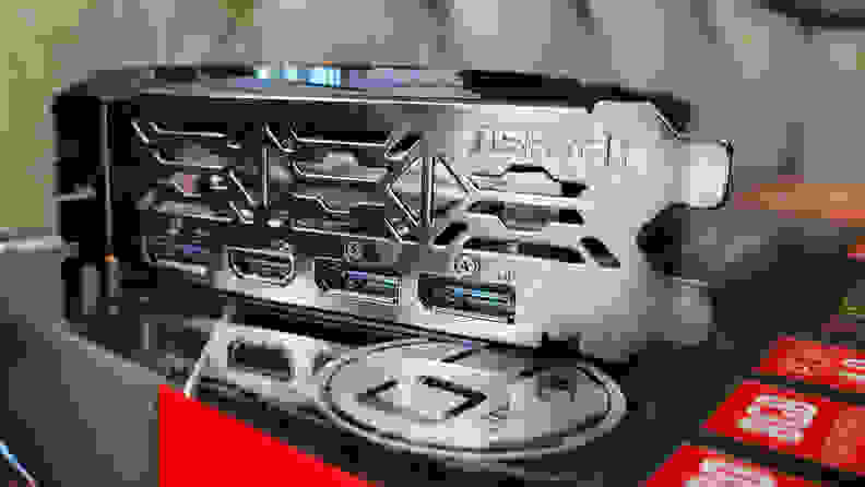 Ports on the back side of a graphics card