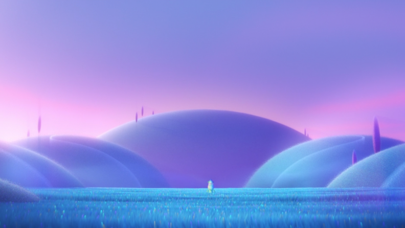 A screenshot from the movie _Soul_ featuring a pastel pink purple landscape and Joe in a field.