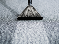 Carpet cleaner on a grey carpet.