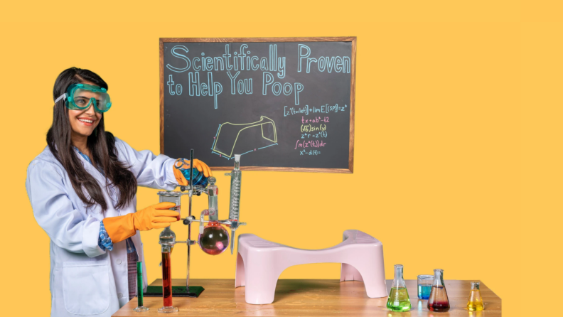 Woman dressed as a scientist holding beakers filled with solution, with Squatty Potty sitting on table in the middle.