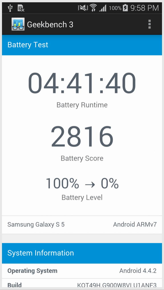 An example of the results of the Geekbench battery test.