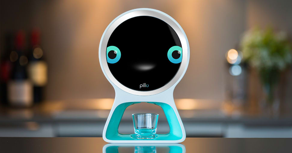 Pillo has two adorable blue eyes and dispenses your pills into a little glass.