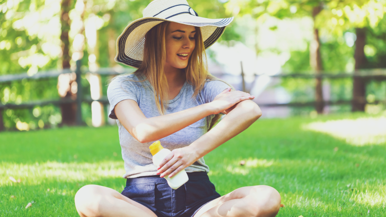 sunscreen in grass