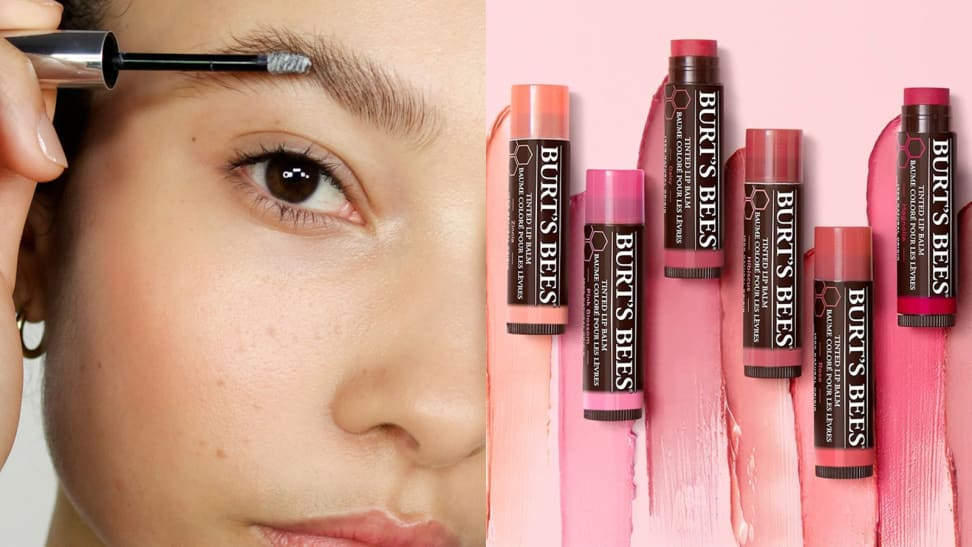 On the left: A closeup of a person applying the Glossier Boy Brow in clear to their eyebrows. On the right: Six shades of a Burt's Bees lip balm lay on a pink background with swatches of the colors underneath the tubes.