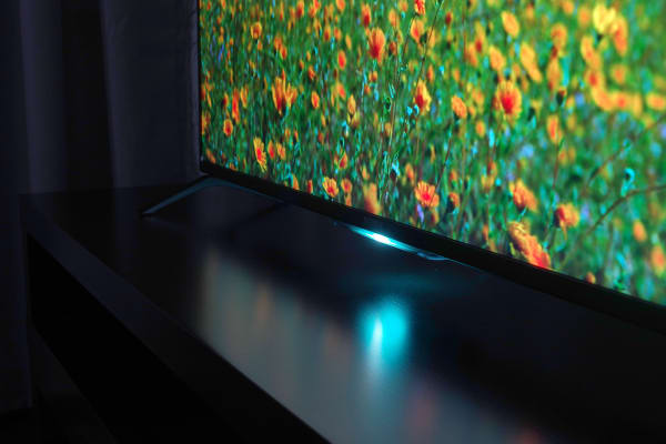A cheery LED lights up the Sony XBR-49X850B's bottom bezel, though users can extinguish the glow if they please.