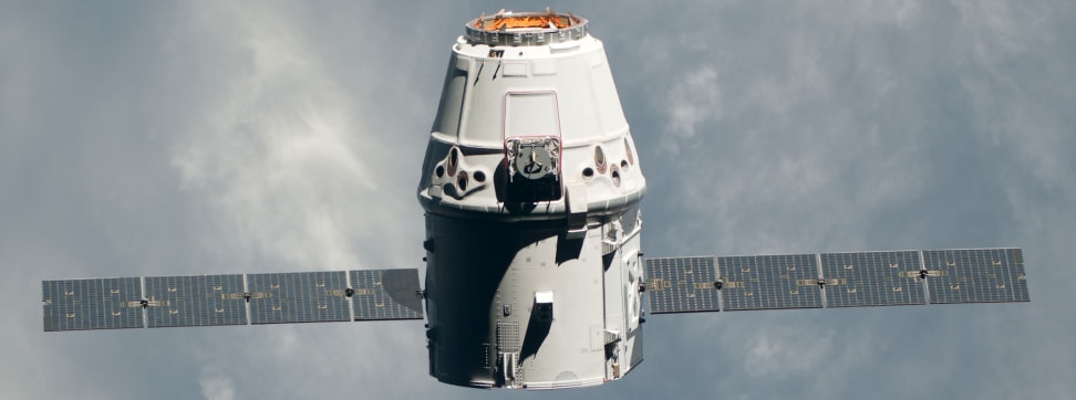 The SpaceX Dragon spacecraft approaching the ISS.