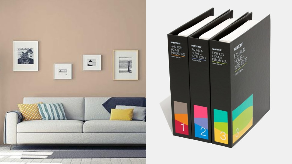 PPG's color of the year Transcend PPG1079-4 and Pantone's 2021 Fashion, Home & Interiors cotton chip set