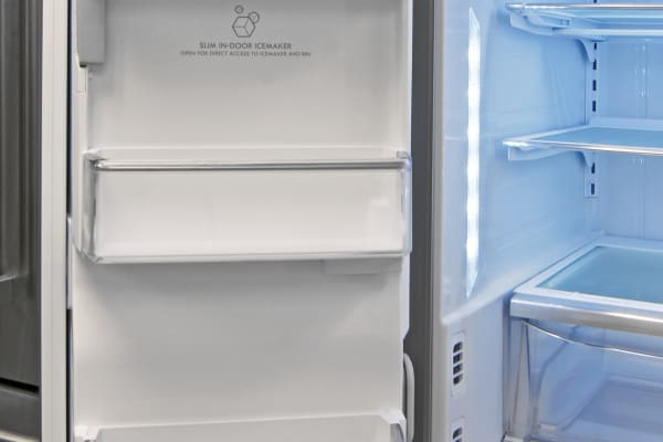 The Kenmore Elite 74025's slim icemaker keeps left door storage shallow, but still quite usable.