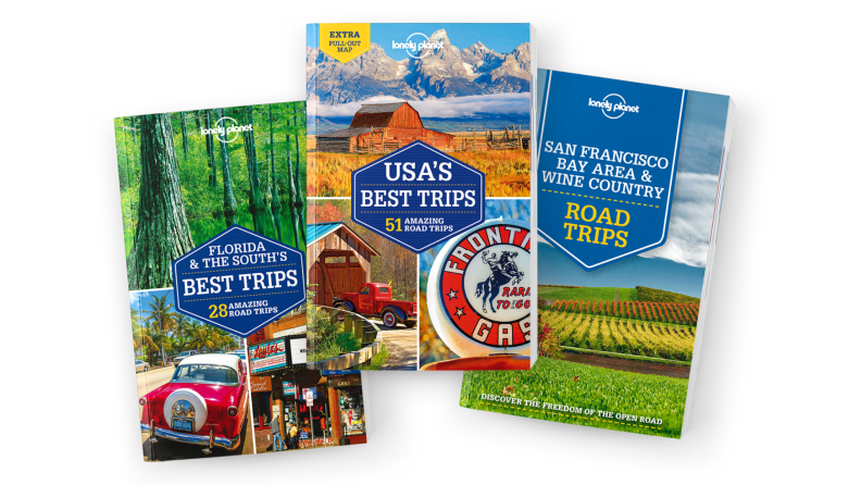 Three Lonely Planet guidebooks exploring the United States.