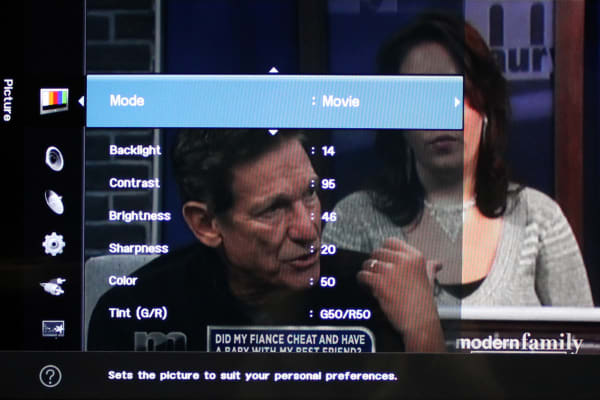 The H4000's picture menu offers all of the basic adjustments.
