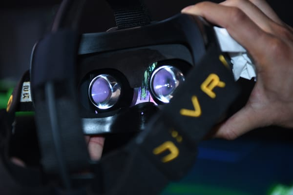 A first-person view of the Razer headset.
