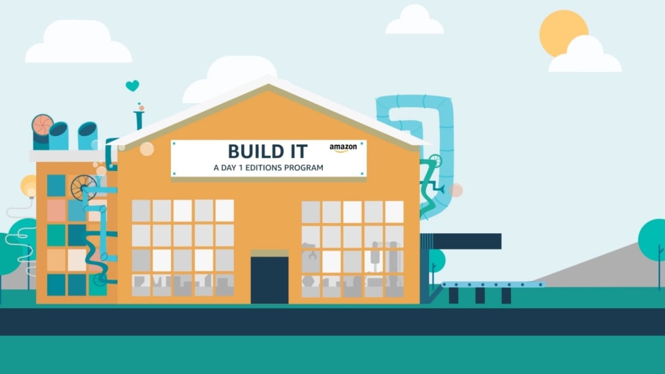 Amazon's Built It program graphic of a factory churning out ideas.