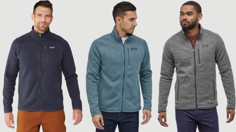 Three models wear Patagonia pull-over zipped sweater.
