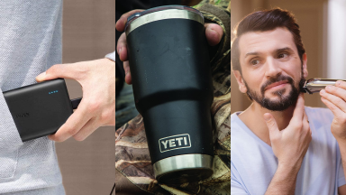 (1) A person stuffs a portable charger into their pocket. (2) A person holds a Yeti water bottle. (3) A person shaves their beard with an electric razor.