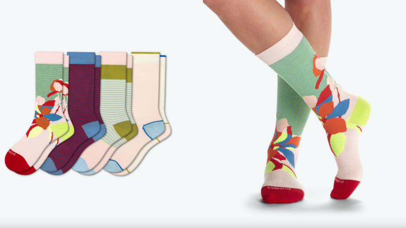On left, four pairs of multi-colored socks lined up in a row. On right, feet wearing a pair of multi-colored socks from