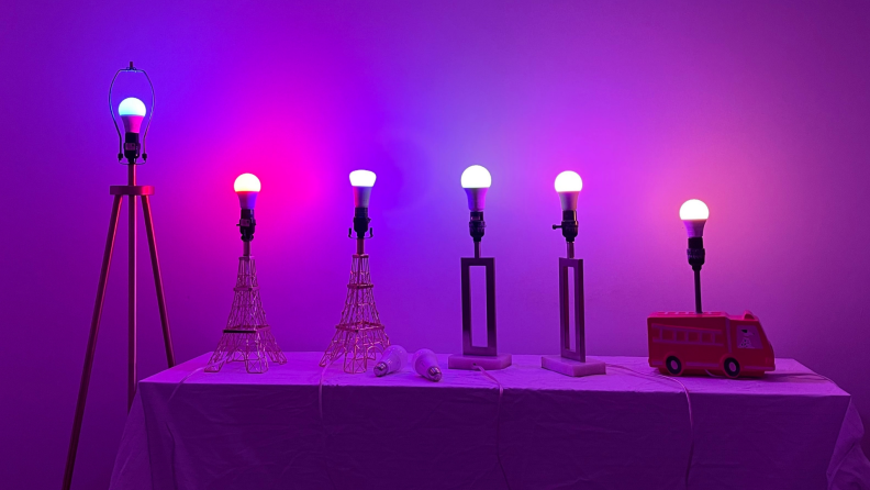 Smart bulbs turned on to a variety of different colors