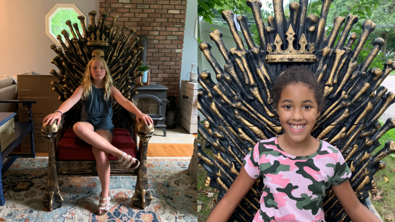 On left, young child sitting on Bone Throne chair indoors. On right, young child smiling while sitting on Bone Throne.