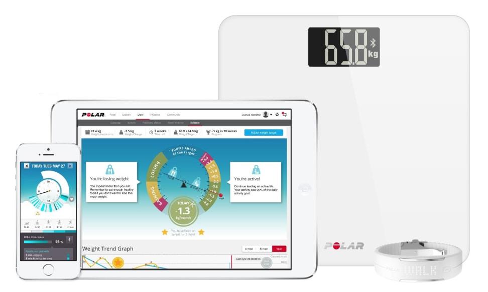 The Polar Balance smart scale with Polar Flow app
