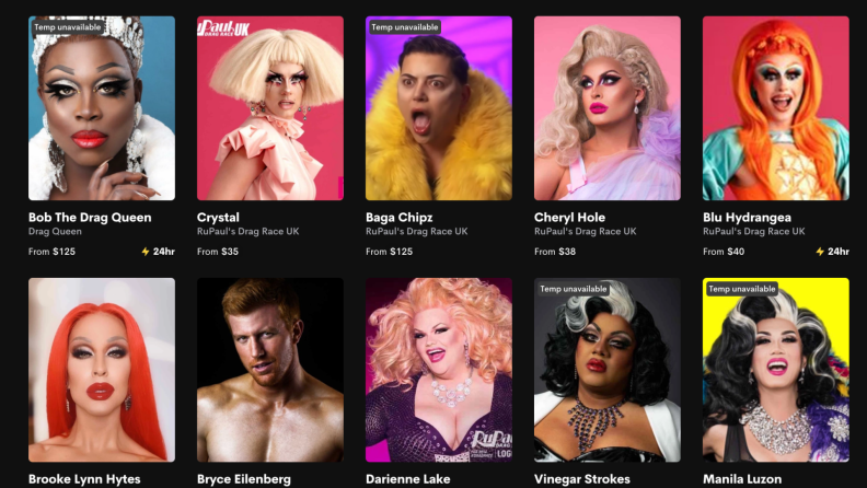 Glamour shots of Drag Race queens available to book on Cameo