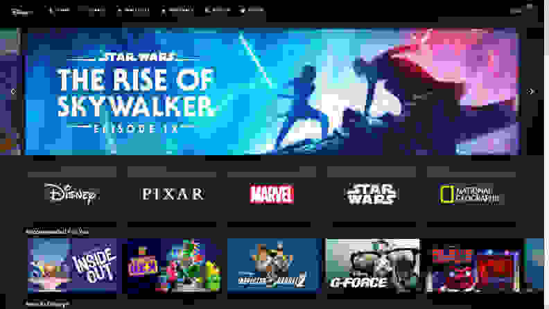 Disney+ home page