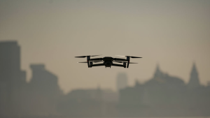A drone hovers in the skies above Liverpool.