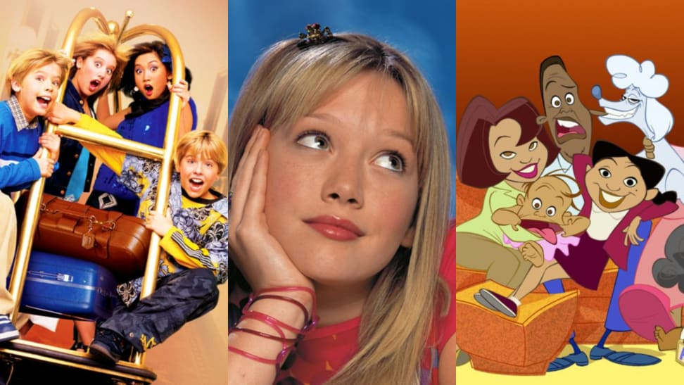 "(left) Dylan and Cole Sprouse, Brenda Song, and Ashley Tisdale slide down a hotel hallway in ""The Suite Life of Zack and Cody."" (middle) Hilary Duff daydreams as ""Lizzie McGuire."" (right) The animated cast of ""The Proud Family."""