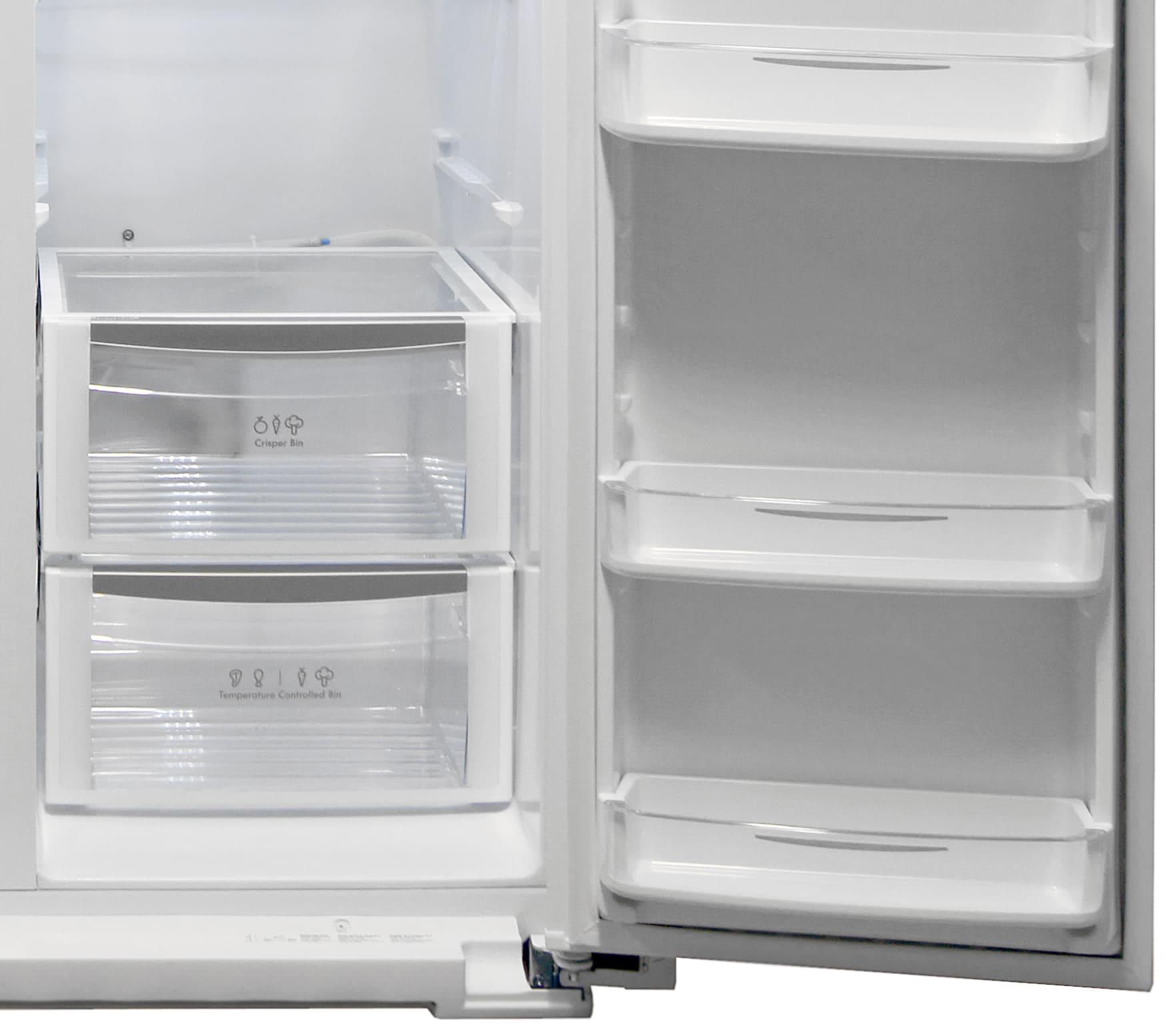 The Kenmore Elite 51162's crisper and temperature drawer are found at the bottom of the fridge, with some extra shelf storage on the door.