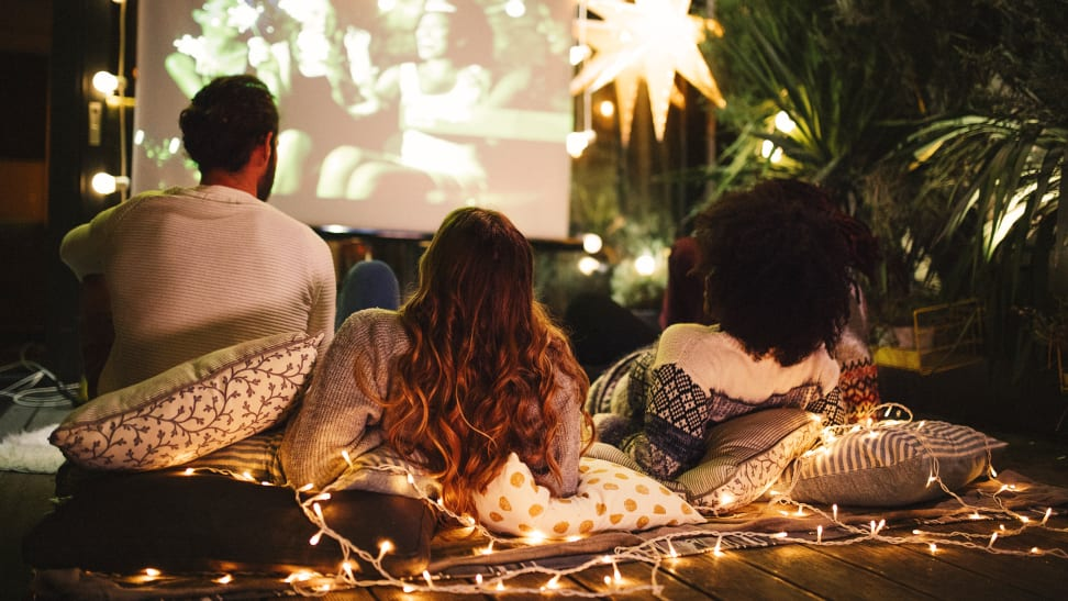 An outdoor movie night in action