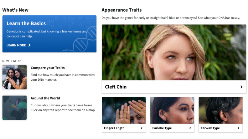 AncestryDNA Traits Homepage