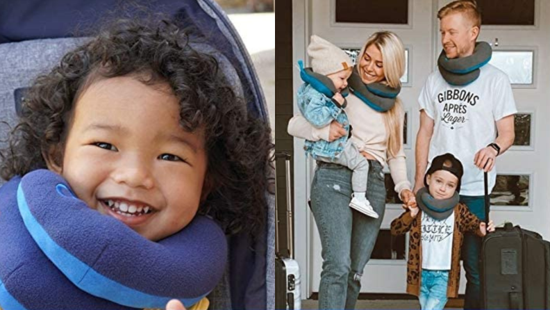 A child and a family wear neck pillows.