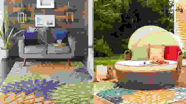 Nathalie Green/Blue Indoor/Outdoor Area Rug