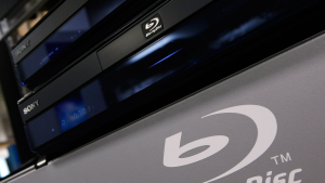 Sony Blu-ray players are displayed on a shelf at Best Buy.