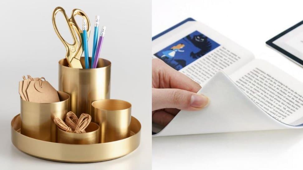 Left: Gold Desk Organizer; Right: Literature Mousepad