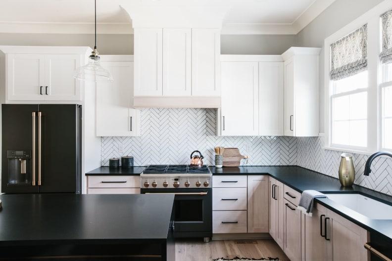 Matte-black-fridge-and-range-in-white-kitchen