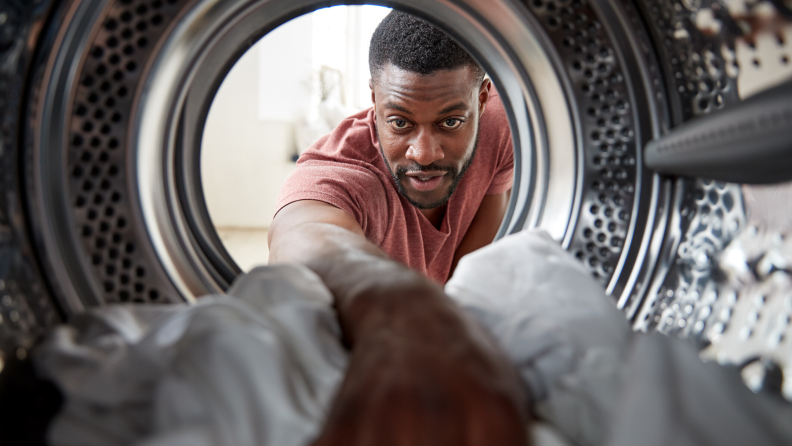 man using dryer